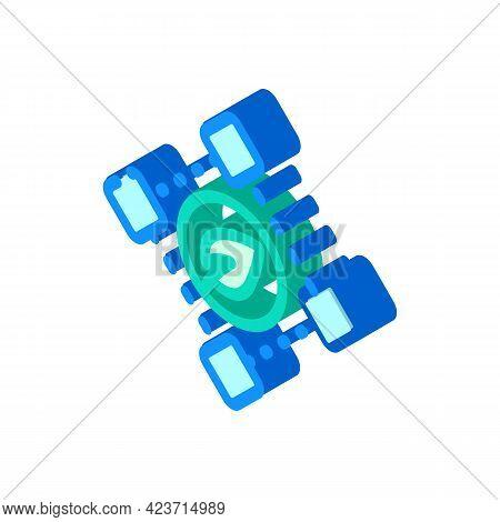 Blockchain Chia Cryptocurrency Isometric Icon Vector. Blockchain Chia Cryptocurrency Sign. Isolated