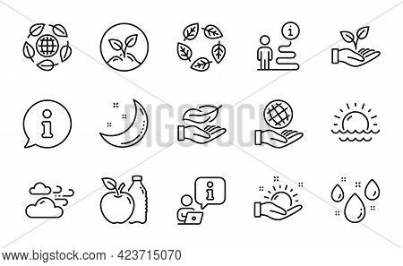 Nature Icons Set. Included Icon As Sunny Weather, Organic Tested, Safe Planet Signs. Helping Hand, M