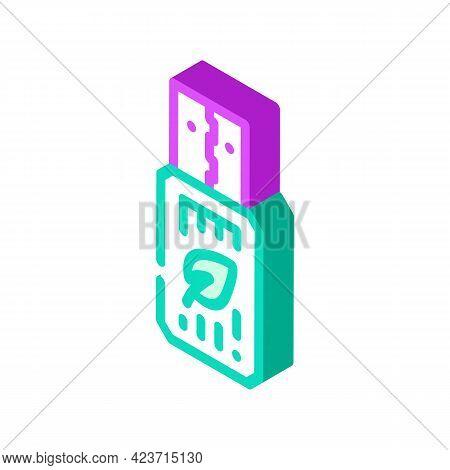 Usb Flash Storage Chia Cryptocurrency Isometric Icon Vector. Usb Flash Storage Chia Cryptocurrency S