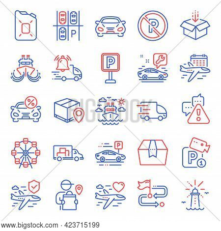 Transportation Icons Set. Included Icon As Ship Travel, Parking, Parcel Tracking Signs. Parking Plac