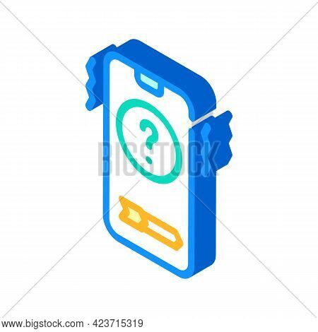 Unknown Telephone User Call Fear Isometric Icon Vector. Unknown Telephone User Call Fear Sign. Isola