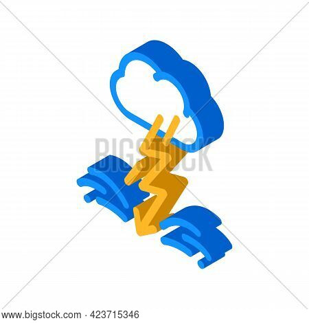 Lightning Fear Isometric Icon Vector. Lightning Fear Sign. Isolated Symbol Illustration