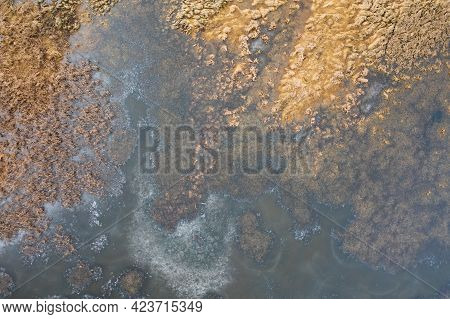 Natural Background Created By Structure Of Marsh From Directly Above