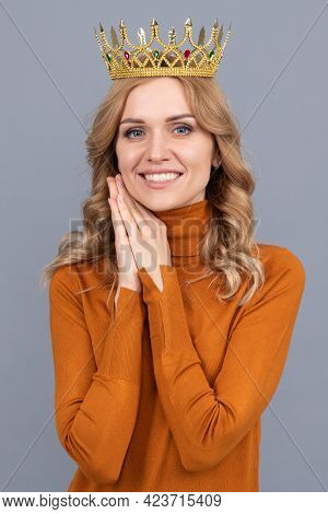 Cheerful Blonde Woman With Curly Hair Wear Crown, Glory