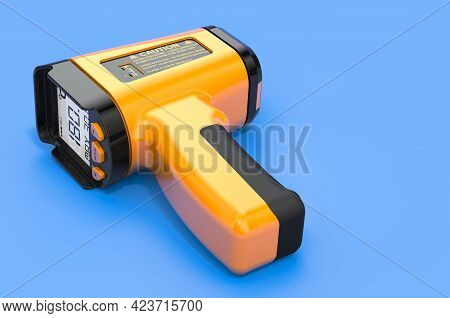 Digital Infrared Thermometer On Blue Background, 3d Rendering