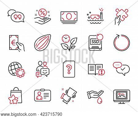 Vector Set Of Line Icons Related To Almond Nut, Loyalty Points And Leaves Icons. Finance, Quote Bubb