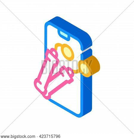 Electronic Skipping Rope Gym Device Isometric Icon Vector. Electronic Skipping Rope Gym Device Sign.