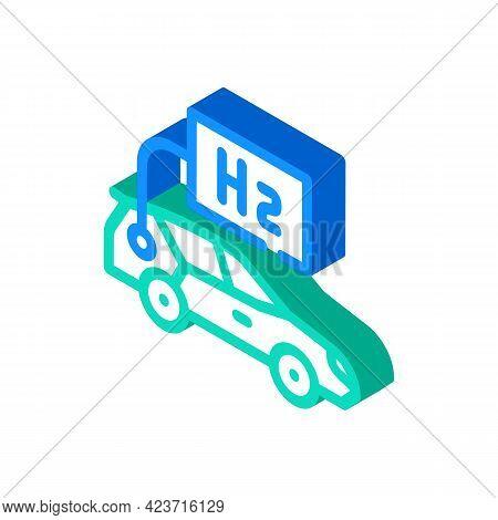 Car Hydrogen Transport Isometric Icon Vector. Car Hydrogen Transport Sign. Isolated Symbol Illustrat