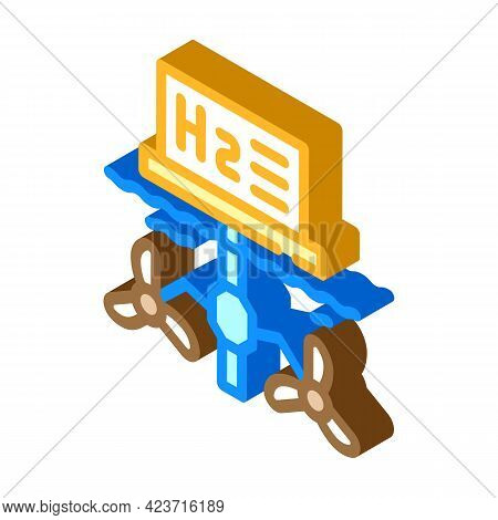 Floatage Station For Hydrogen Production Isometric Icon Vector. Floatage Station For Hydrogen Produc