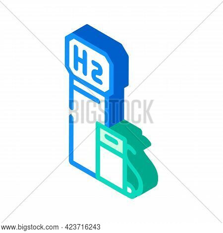 Hydrogen Gas Station Isometric Icon Vector. Hydrogen Gas Station Sign. Isolated Symbol Illustration