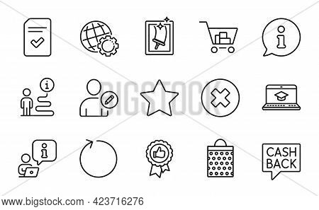 Line Icons Set. Included Icon As Internet Shopping, Positive Feedback, Money Transfer Signs. Close B