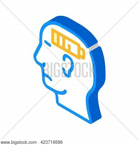 Lack Of Strength Neurosis, Low Battery Isometric Icon Vector. Lack Of Strength Neurosis, Low Battery