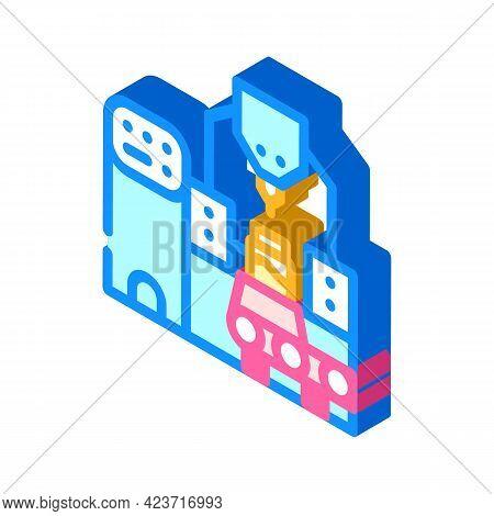 Industrial Production Peanut Butter Conveyor Isometric Icon Vector. Industrial Production Peanut But