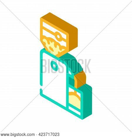 Crusher Device For Production Peanut, Press Machine Isometric Icon Vector. Crusher Device For Produc
