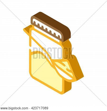 Spoon With Delicious Peanut Butter Isometric Icon Vector. Spoon With Delicious Peanut Butter Sign. I