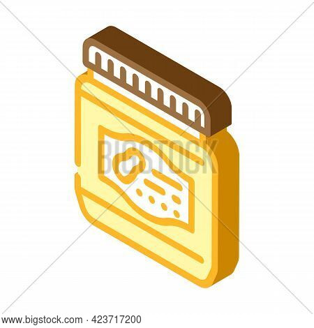 Bottle With Sweet Peanut Butter Isometric Icon Vector. Bottle With Sweet Peanut Butter Sign. Isolate
