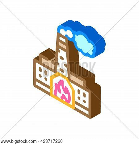 Thermal Power Plant Peat Isometric Icon Vector. Thermal Power Plant Peat Sign. Isolated Symbol Illus