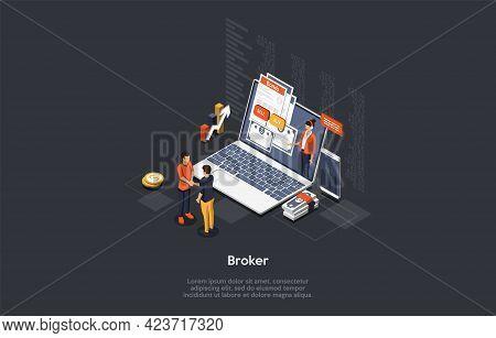 Broker Profession, Trading Skills, Business Stocks And Bonds Concept Design. Vector Illustration In