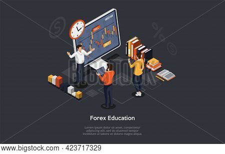 Forex Business Education, Prediction And Trading Skills Concept Design. Vector Illustration In Carto
