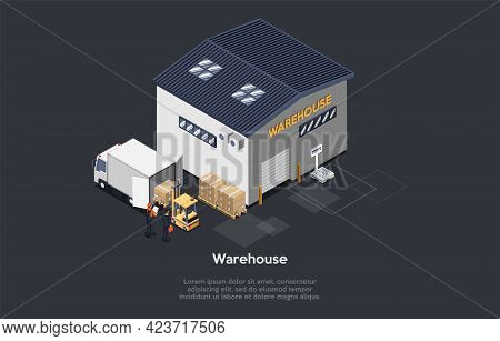 Vector Illustration. Warehouse World Marketing Building, Storehouse, People Working, Truck Loading.