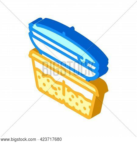 Cooked Food Set Canteen Isometric Icon Vector. Cooked Food Set Canteen Sign. Isolated Symbol Illustr