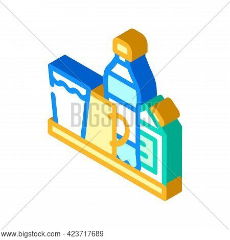 Water And Milk, Tea And Juice Drinks On Tray Isometric Icon Vector. Water And Milk, Tea And Juice Dr