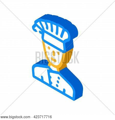 Cook Chef Canteen Worker Isometric Icon Vector. Cook Chef Canteen Worker Sign. Isolated Symbol Illus