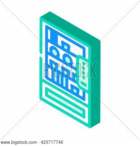Vending Machine With Food And Drinks In Canteen Isometric Icon Vector. Vending Machine With Food And