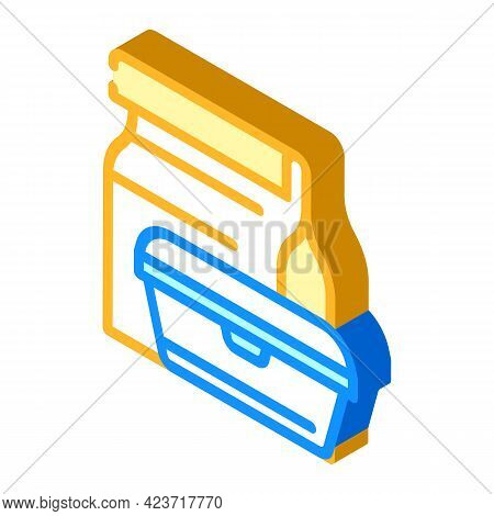 Lunch Box Canteen Isometric Icon Vector. Lunch Box Canteen Sign. Isolated Symbol Illustration