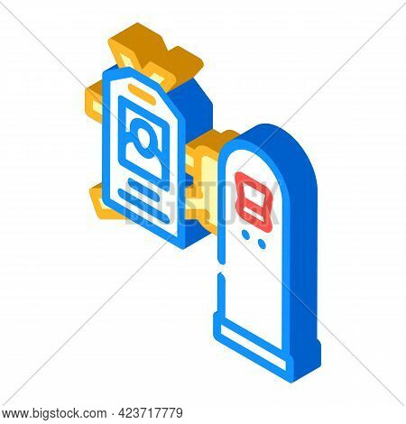 Pass Key For Entry To Canteen Isometric Icon Vector. Pass Key For Entry To Canteen Sign. Isolated Sy