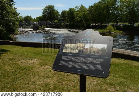 Smiths Falls, Ontario, Ca, June 12, 2021: Historic Site Of The Woods Mill On The Rideau Canal Locate