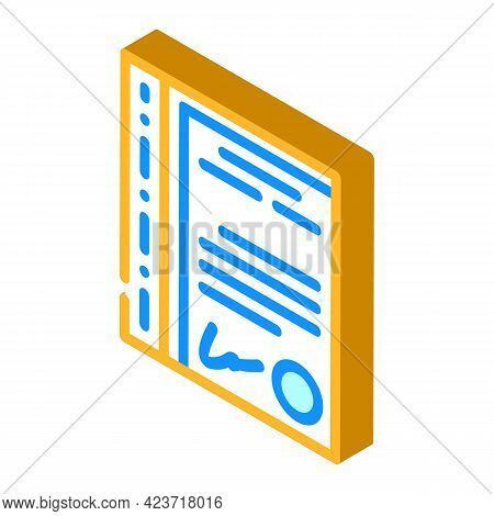 File With Document Stationery Accessory Isometric Icon Vector. File With Document Stationery Accesso