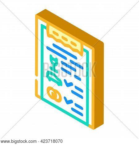 Checklist Wedding Organization Isometric Icon Vector. Checklist Wedding Organization Sign. Isolated