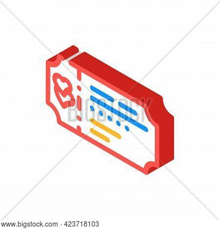 Honeymoon Ticket Travel Isometric Icon Vector. Honeymoon Ticket Travel Sign. Isolated Symbol Illustr