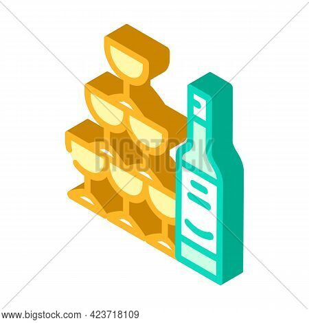 Champagne Wedding Drink For Guests Isometric Icon Vector. Champagne Wedding Drink For Guests Sign. I