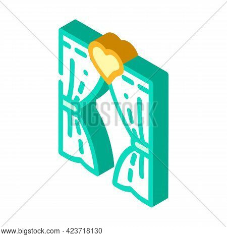 Arch For Lovers In Wedding Day Isometric Icon Vector. Arch For Lovers In Wedding Day Sign. Isolated