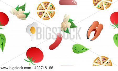 Endless White Seamless Pattern From A Set Of Icons Of Delicious Food And Snacks Items For A Restaura