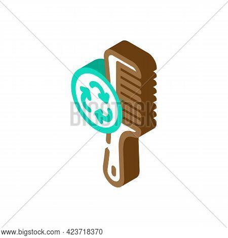Hairbrush Zero Waste Equipment Isometric Icon Vector. Hairbrush Zero Waste Equipment Sign. Isolated