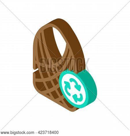 String Bag Zero Waste Isometric Icon Vector. String Bag Zero Waste Sign. Isolated Symbol Illustratio