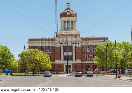 Sayre, Oklahoma - May 6, 2021: View Of The Beckham County Courthouse On A Sunny Spring Day