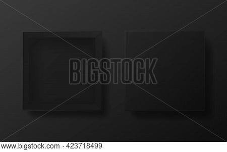 Box Black Mockup. Open Dark Package. Empty Square Container. Realistic Gift Box Template For Present