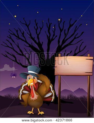 Illustration of a turkey beside a blank board