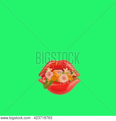 Art floral female lips symbol made of beautiful natural flowers. Trendy colorful blooming abstract idea with kiss shape composition. Botany concept with leaves, blossoms, petals  and buds