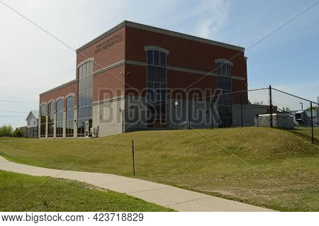 Smiths Falls, Ontario, Ca, June 12, 2021: An Exterior Shot Of The Water Treatment Plant Located On T