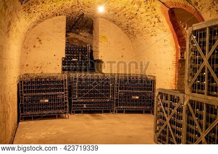 Champagne Sparkling Wine Production In Underground Cellars, Reims, Champagne, France