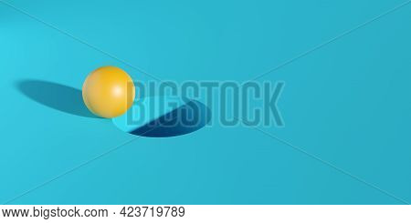 Yellow Sphere On Edge Of Hole On Cyan Background, Target Or Goal Minimal Modern Business Concept, 3d