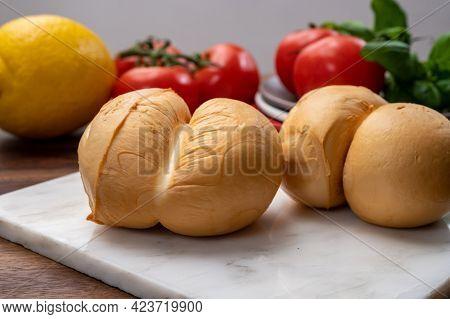 Cheese Collection, Italian Yellow Smoked Caciocavallo Or Scamorza Cheese