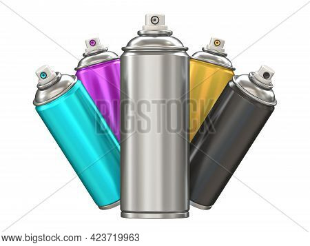 Cmyk Aerosol Spray Cans 3d Render Illustration Isolated On White Background