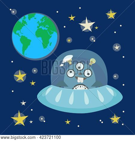Ufo Flying Saucer In The Background Of Space. Planet Earth And Stars. Vector In Cartoon Style.