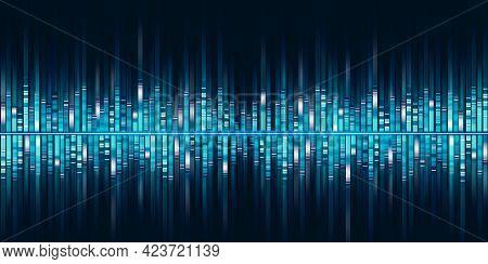 Frequency Spectrum Of Music Blue Sound Wave Equalizer Light Stripes 3d Illustration